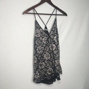 7 For All Mankind Lace Overlay Tank Top
